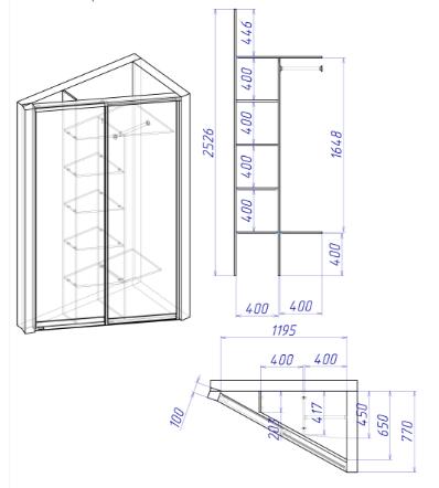 Угловой шкаф с рекомендованными размерами