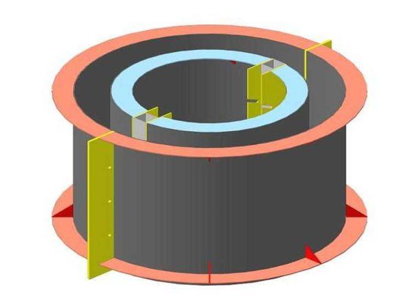 Схема формы под бетонное кольцо