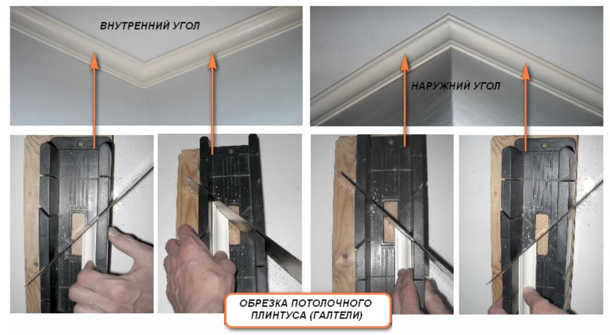 Как правильно подрезать внутренний и наружный угол потолочной галтели