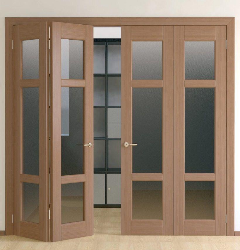 Двухсекционные двери типа гармошка