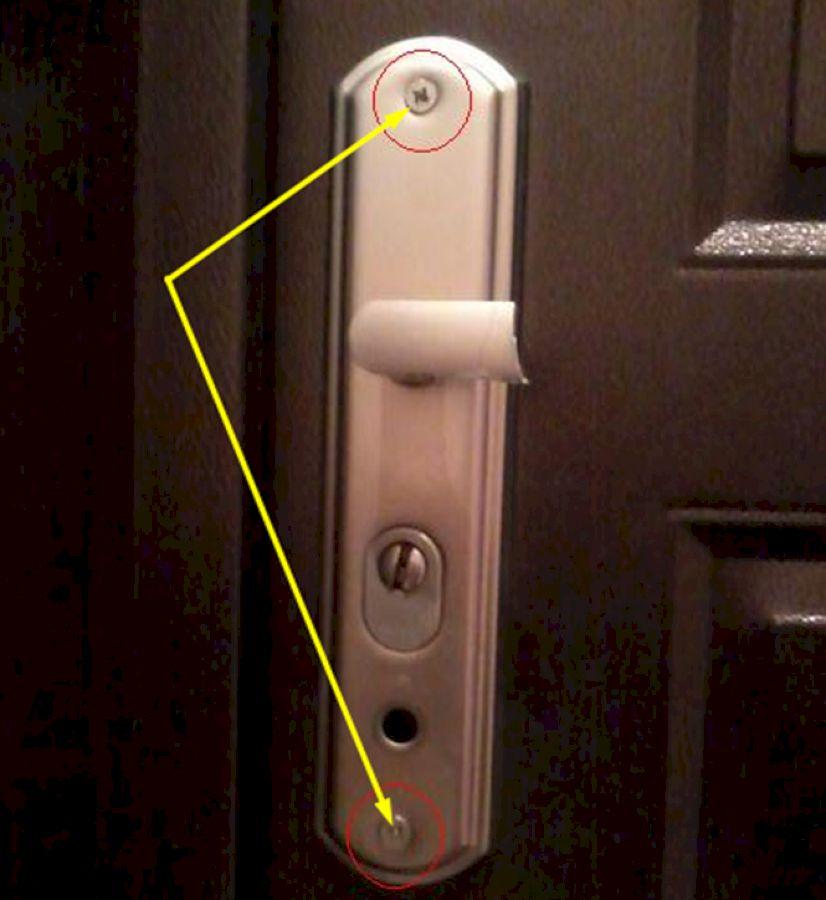 Внутренние точки фиксации ручки для входной двери