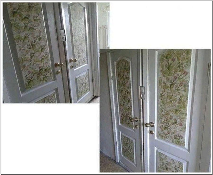 Отделка дверей при помощи бумажных салфеток