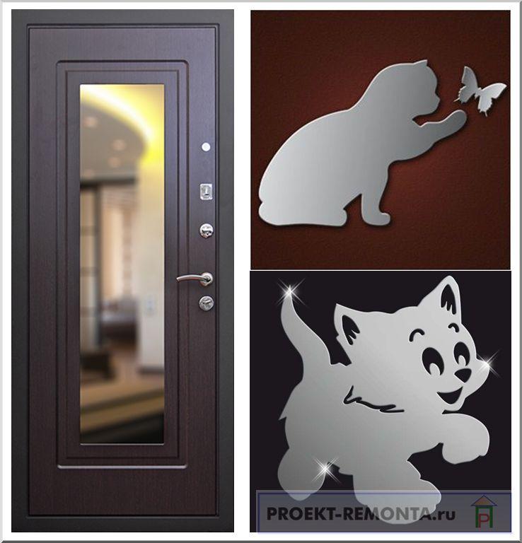 Варианты декора дверей акриловыми зеркалами