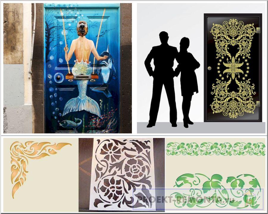 Ручная художественная роспись дверей и трафаретные узоры в сравнении