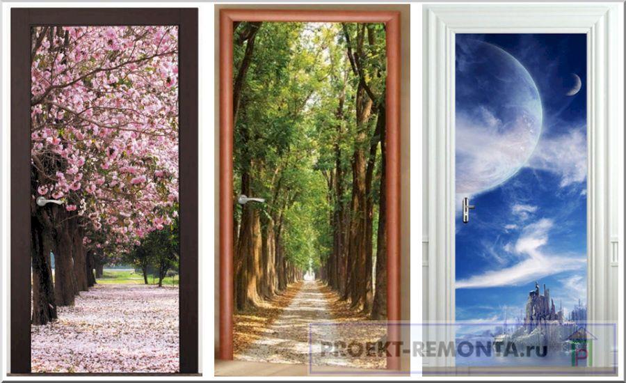 Как украсить двери фотообоями