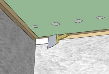 Потолочный угол - схема шпаклевки