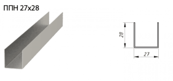 Потолочный UD профиль 27х28 мм