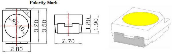 Чертеж с линейными размерами светодиодов SMD3528