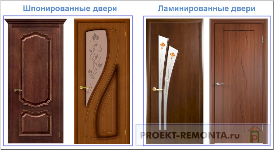 Шпонированные и ламинированные двери в сравнении