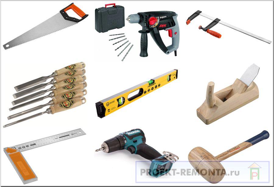 Инструмент необходимый для сборки простых деревянных дверей